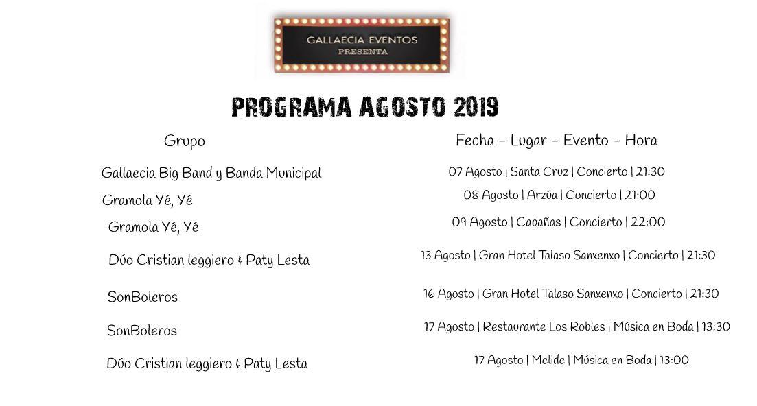 eventos agosto 2019