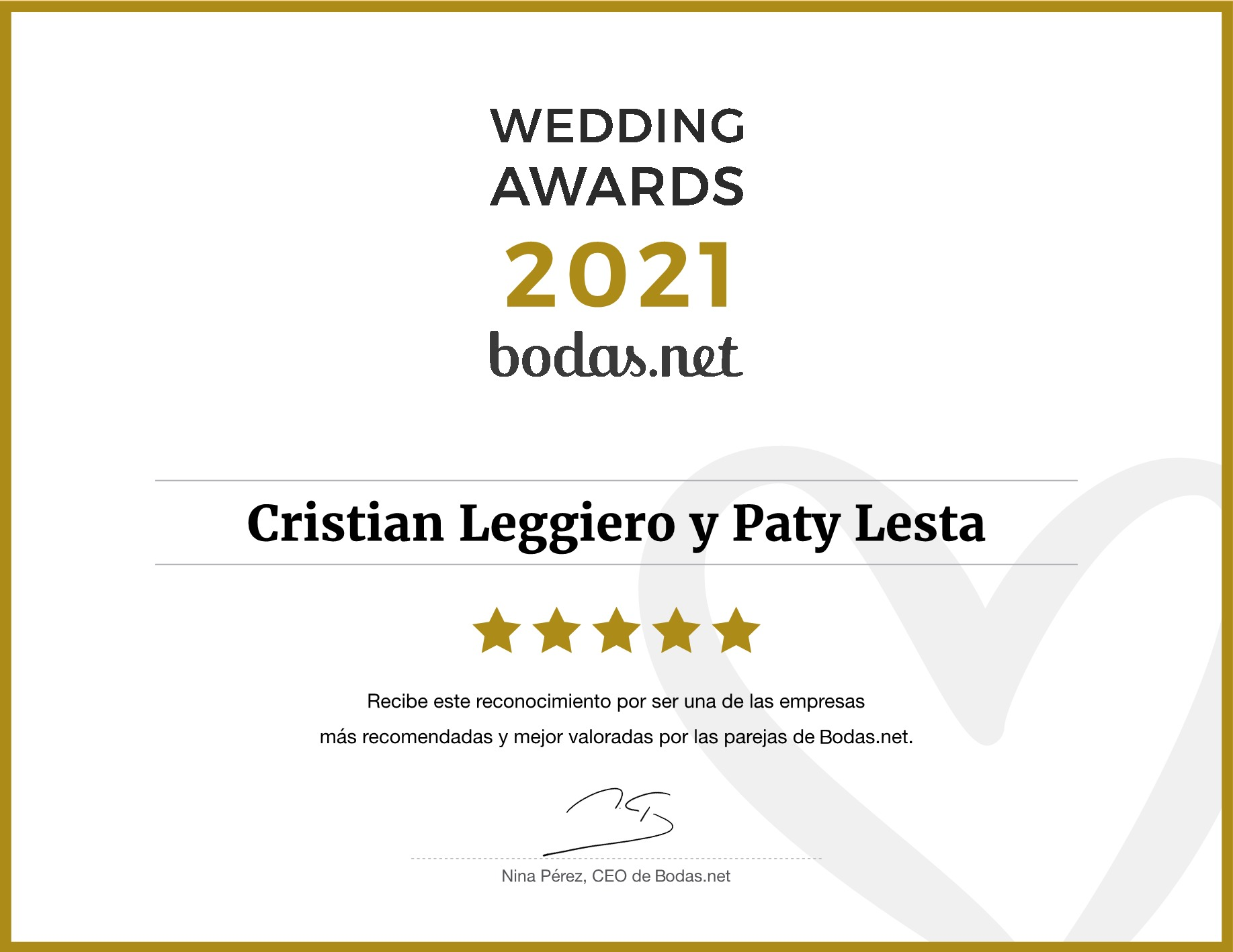 Wedding_Awards_2021 Duo Cristian Leggiero y Paty Lesta